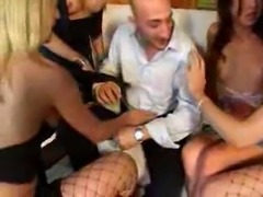 Mad orgy with trannies in stockings