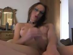 Tgirl in glasses jerks by webcam