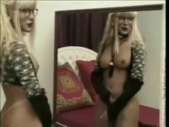 Lustful blonde TS milf wants some dick to eat