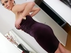 Brunette shemale Scellen Croft undresses and masturbates