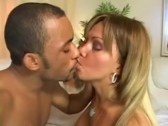 Latina guy spooging on blondes perky boobs