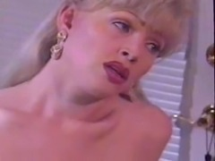 Vintage blonde TS jerks at her home