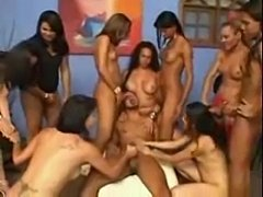 Latina shemales in crazy orgy