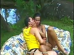 Brazillian Shemale Fucks Guy Outdoors