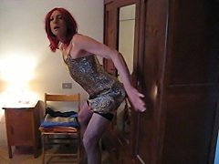 Crossdresser cums on dildo