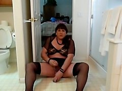 Chubby sissy toys his hole on the bathroom floor