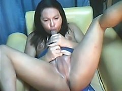 Asian ladyboy self sucking