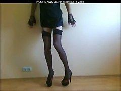 Amateur crossdresser in stockings solo