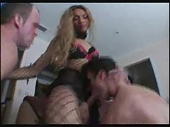 Two chaps eat tranny in sexy lingerie