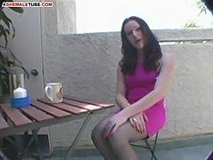 Ourdoor masturbation of horny ladyboy