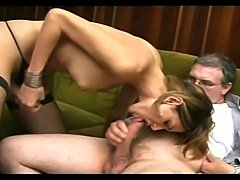 Horny boss took advantage of his shemale maid