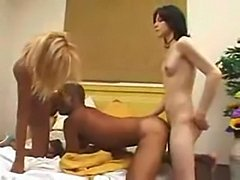 White and black shemales in crazy threesome
