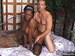 Black tranny & white guy love anal sex