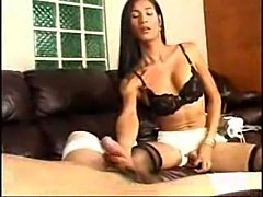 Skinny ladyboy banged by dude in stockings