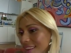 Blonde tranny and a lad fuck each other