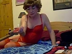 Mature cd in red lingerie