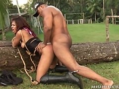 Bondage outdoor act with Sarah Costa