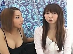 Teen asian ladyboy and girl having sex