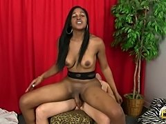 Guy has a nice time with sexy ebony TS