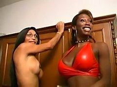 Ebony trans with huge boobs works miracles