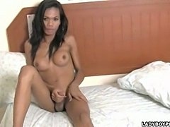 Graceful busty ladyboy sucks by cameraman & wanking