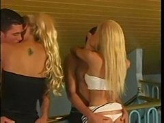 Hot orgy with three blonde shemale