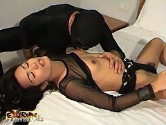 Ladyboy in black lingerie dreams up sexual encounter