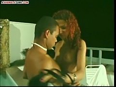 Curly tranny gets fucking and facial from dude