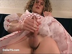 CD Delia In Frivolous Dress Creamy Wanking