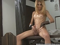 Small tits blonde tranny plays with dildo and big cock