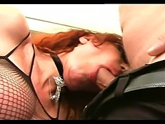 Busty redhead shemale get pervs hard boner deep in her tight asshole