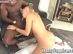 Hot black shlong for blonde ladyboy