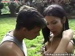 Outdoor anal sex with tranny