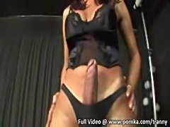 Mistress With Lash Makes Guy Suck TS Rod